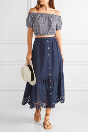 Miguelina Adrienne crochet-trimmed cotton maxi skirt