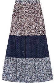 Lillian crochet-paneled floral-print cotton-voile skirt