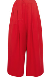 Cropped crepe wide-leg pants
