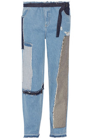 Patchwork distressed high-rise wide-leg jeans