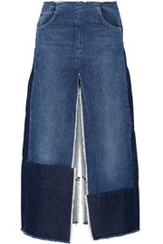 Patchwork distressed denim maxi skirt