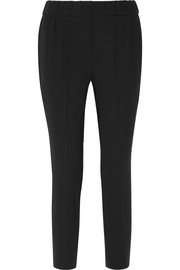 Wool-blend crepe straight-leg pants