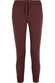 Embellished cashmere and silk-blend track pants