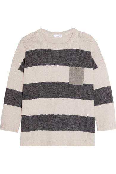 Brunello Cucinelli - Embellished Striped Cashmere Sweater - Cream