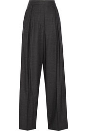 Checked wool-blend flannel wide-leg pants