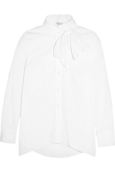 Brunello Cucinelli - Pussy-bow Stretch-cotton Poplin Shirt - White