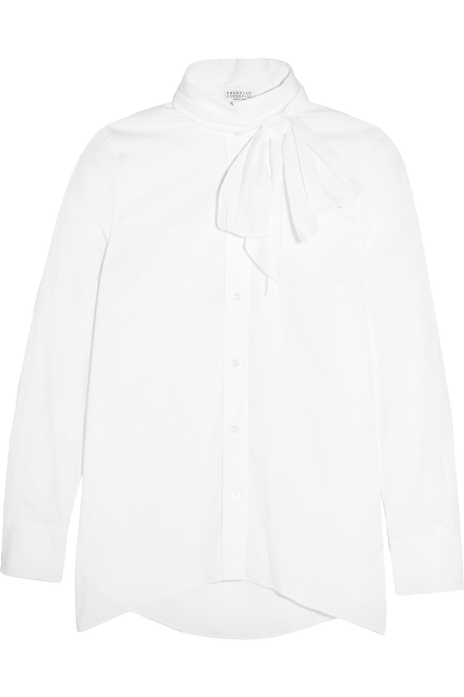 Pussy-Bow Stretch-Cotton Poplin Shirt, Size: M