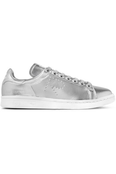 44132309bf90 adidas Originals. + Raf Simons Stan Smith perforated metallic leather  sneakers