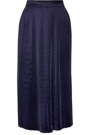 Lucy pleated satin midi skirt