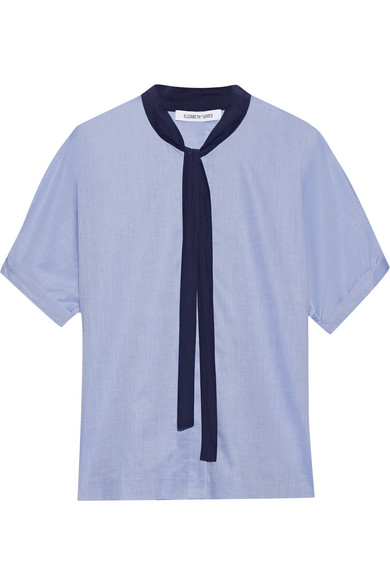 Elizabeth and James - Tessa Pussy-bow Cotton-poplin Blouse - Blue