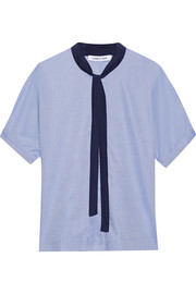 Elizabeth and James Tessa pussy-bow cotton-poplin blouse