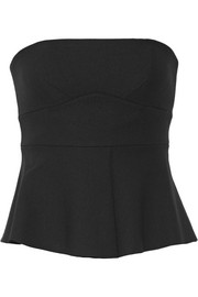Elizabeth and James Nora satin-trimmed ponte peplum top