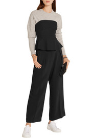Nora satin-trimmed ponte peplum top