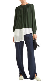 Elizabeth and James Juniper gathered stretch-jersey blouse