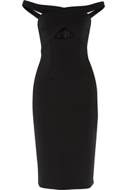 Off-the-shoulder cutout neoprene dress