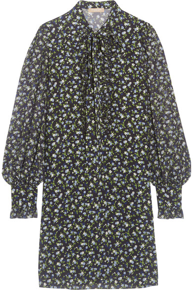 Michael Kors Collection - Pussy-bow Floral-print Silk-georgette Mini Dress - Blue