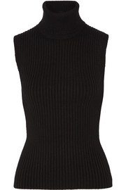 Ribbed stretch cashmere-blend turtleneck top