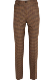 Cropped checked wool-blend tweed straight-leg pants