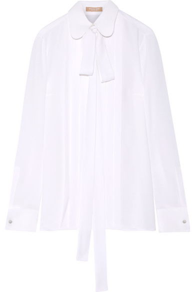 Michael Kors Collection - Pussy-bow Pleated Silk-georgette Blouse - White