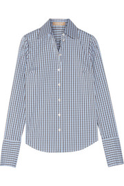Checked cotton-blend poplin shirt