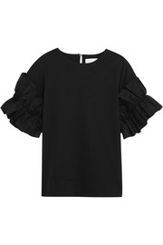 Victoria, Victoria Beckham Ruffled cotton-jersey top