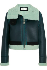 Victoria, Victoria Beckham Shearling-trimmed leather jacket