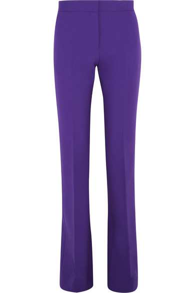 Victoria, Victoria Beckham - Stretch Wool-crepe Flared Pants - Violet