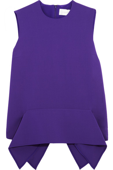 Victoria, Victoria Beckham - Draped Stretch-wool Crepe Peplum Top - Violet