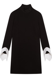 Victoria, Victoria Beckham Georgette and cotton-trimmed wool-crepe mini dress