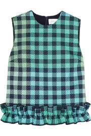 Victoria, Victoria Beckham Ruffle-trimmed gingham wool-blend top