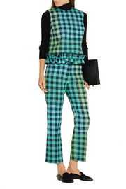 Cropped gingham wool-blend straight-leg pants