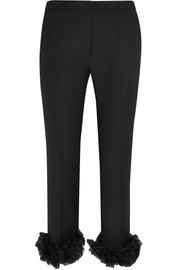 Floral-appliquéd wool-crepe straight-leg pants