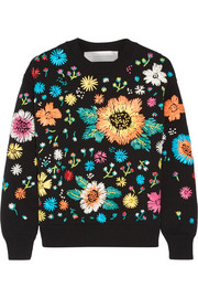 Faux raffia-embroidered knitted sweater