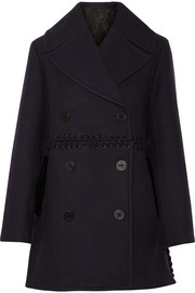 Whipstitched wool-blend peacoat