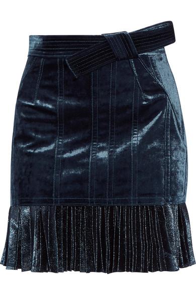 3.1 Phillip Lim - Velvet And Metallic Chiffon Mini Skirt - Navy