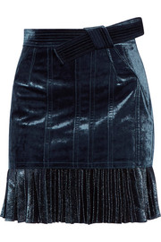 Velvet and metallic chiffon mini skirt