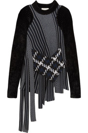 Asymmetric velvet-trimmed wool-jacquard sweater