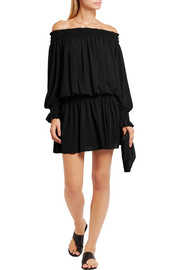 Norma Kamali Off-the-shoulder ruched stretch-jersey mini dress