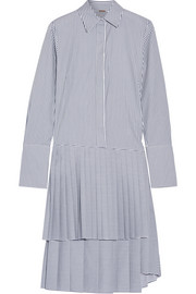 Striped pleated poplin dress