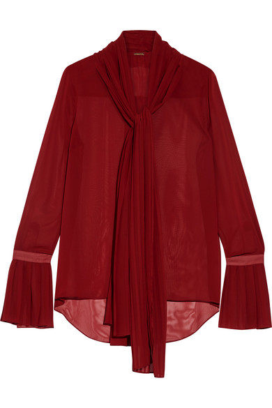 Adam Lippes - Pussy-bow Chiffon Blouse - Red