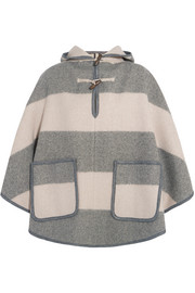 Honor hooded striped wool-blend twill cape