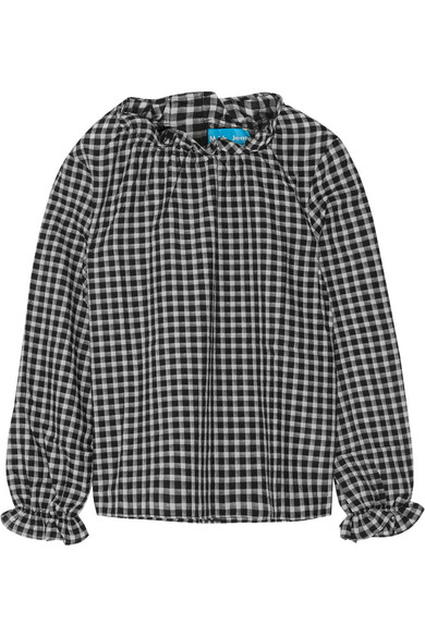 M.i.h Jeans. Sandy ruffle-trimmed gingham voile top