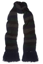 M.i.h Jeans Beat striped ribbed-knit scarf