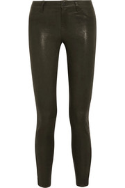 L8001 stretch-leather skinny pants