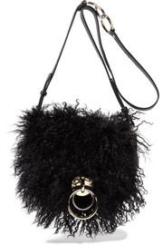 Love Power shearling and textured-leather shoulder bag