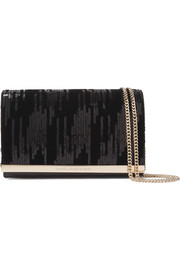Soirée embellished velvet and leather shoulder bag