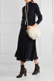 Diane von Furstenberg Love Power shearling and textured-leather shoulder bag
