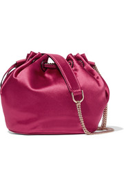 Love Power mini leather-trimmed satin bucket bag