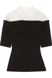 Lela Rose Organza-paneled wool-blend crepe peplum top