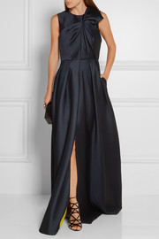 Gathered satin-crepe gown